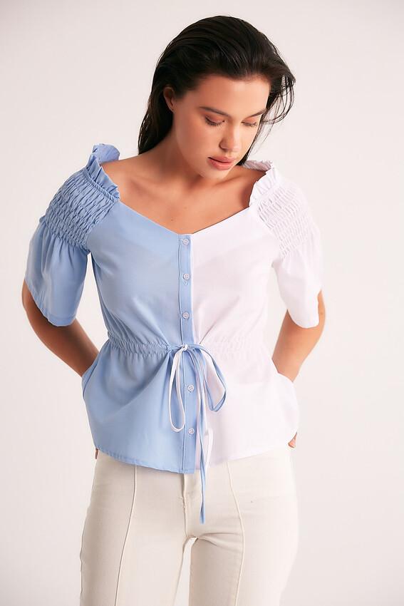 - Robin Omuz Detaylı Kontrast Bluz MİNT
