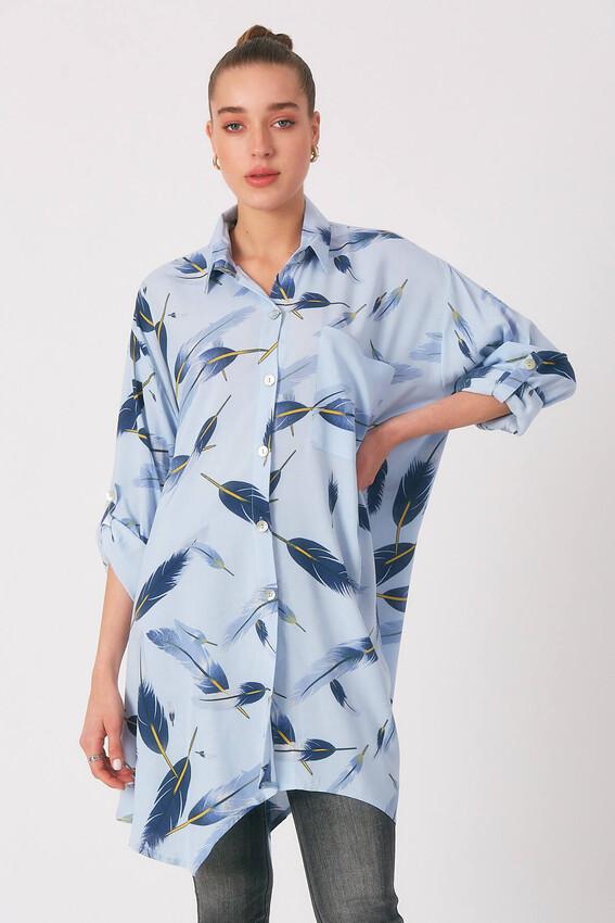 - Robin Oversize Desenli Gömlek MAVİ