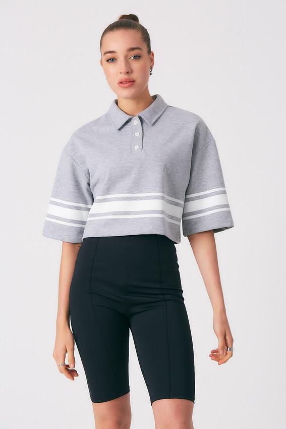 - Robin Polo Yaka Çizgi Desenli Sweatshirt GRİ