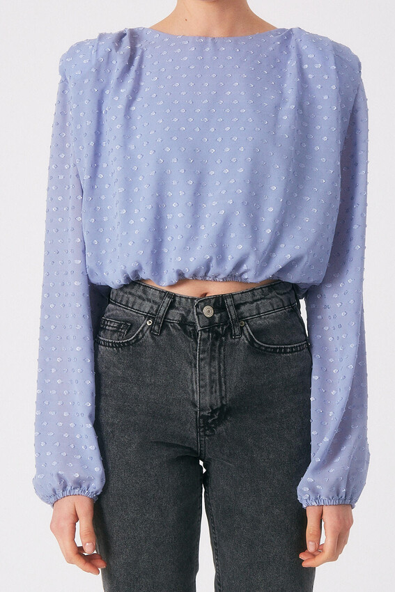 Robin Puantiyeli Vatkalı Bluz MAVİ