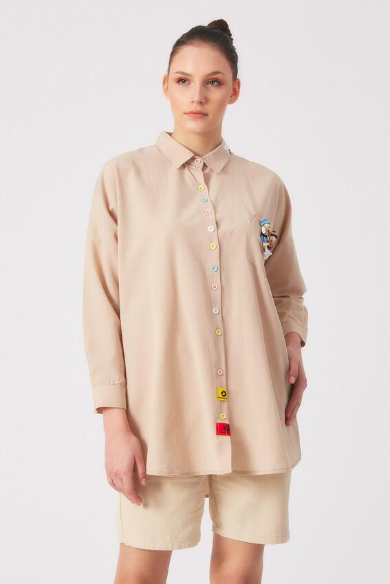 - Robin Renkli Düğmeli Cep Detaylı Gömlek BEJ