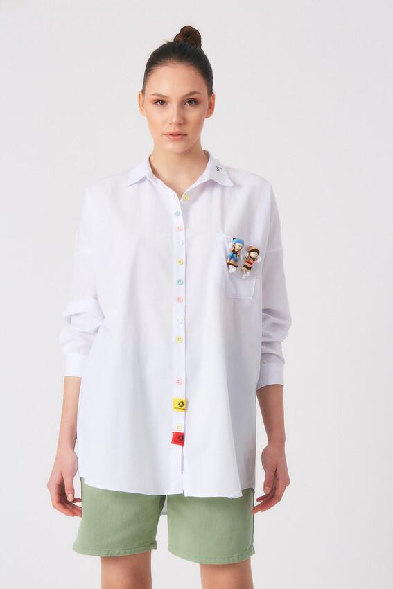 - Robin Renkli Düğmeli Cep Detaylı Gömlek BEYAZ