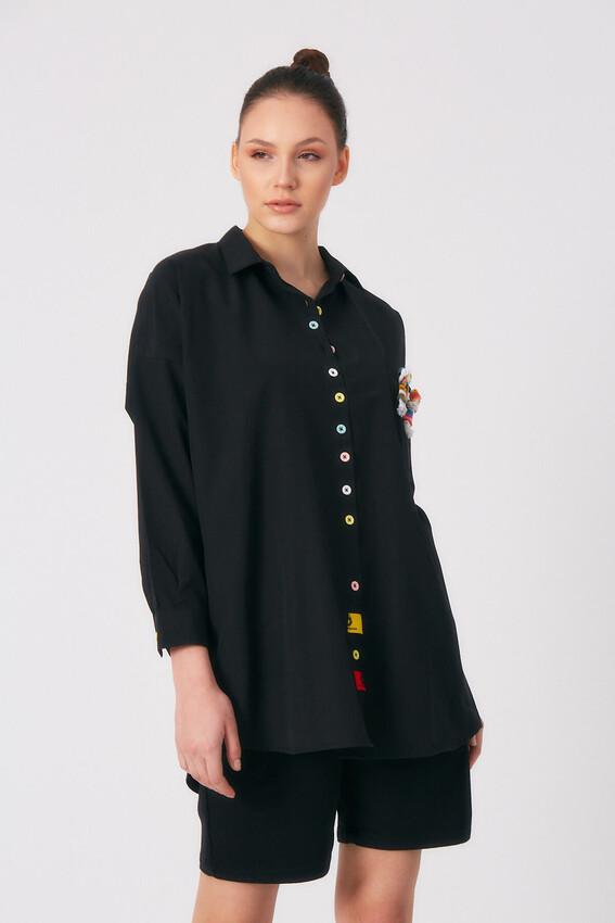 - Robin Renkli Düğmeli Cep Detaylı Gömlek SİYAH