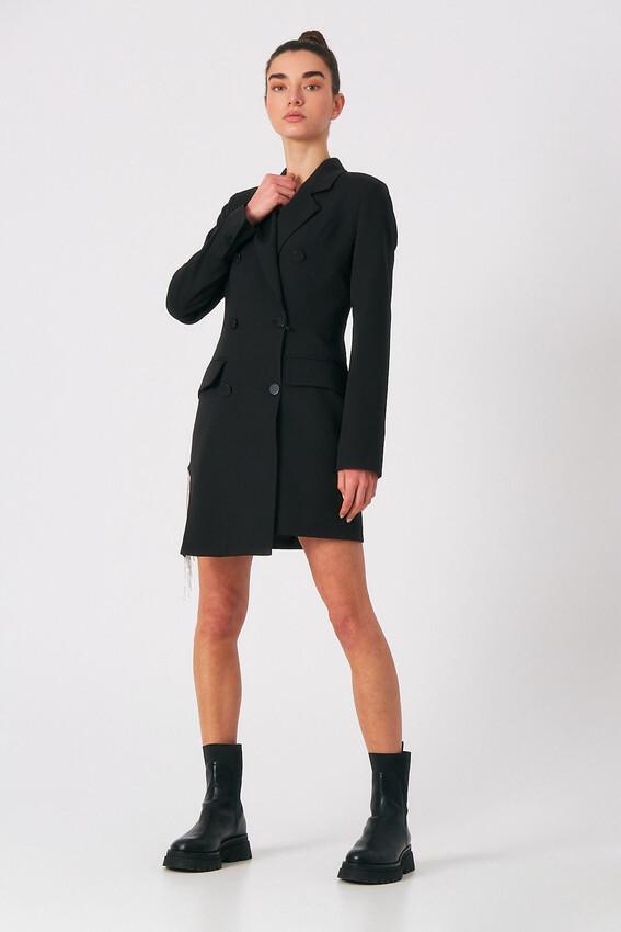 Robin - Robin Taş Püsküllü Ceket Elbise SİYAH