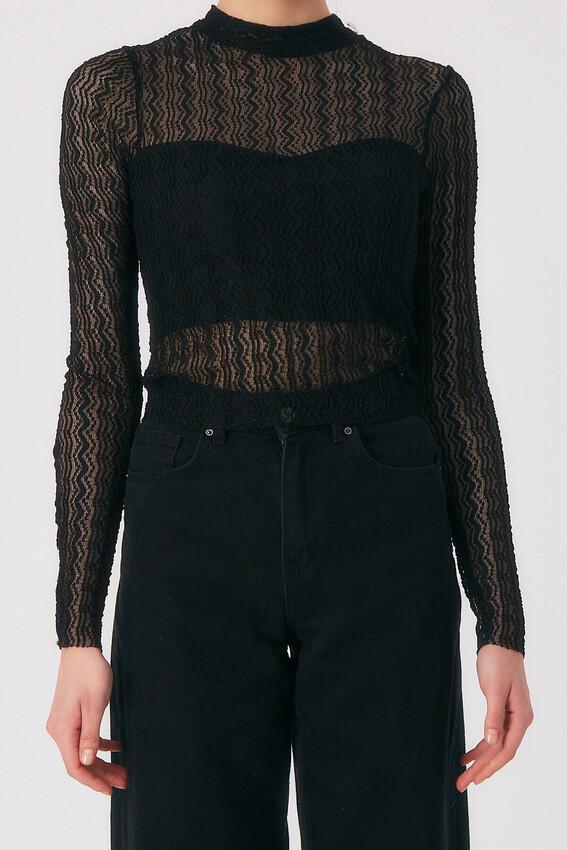Robin Tül Detaylı Bluz SİYAH